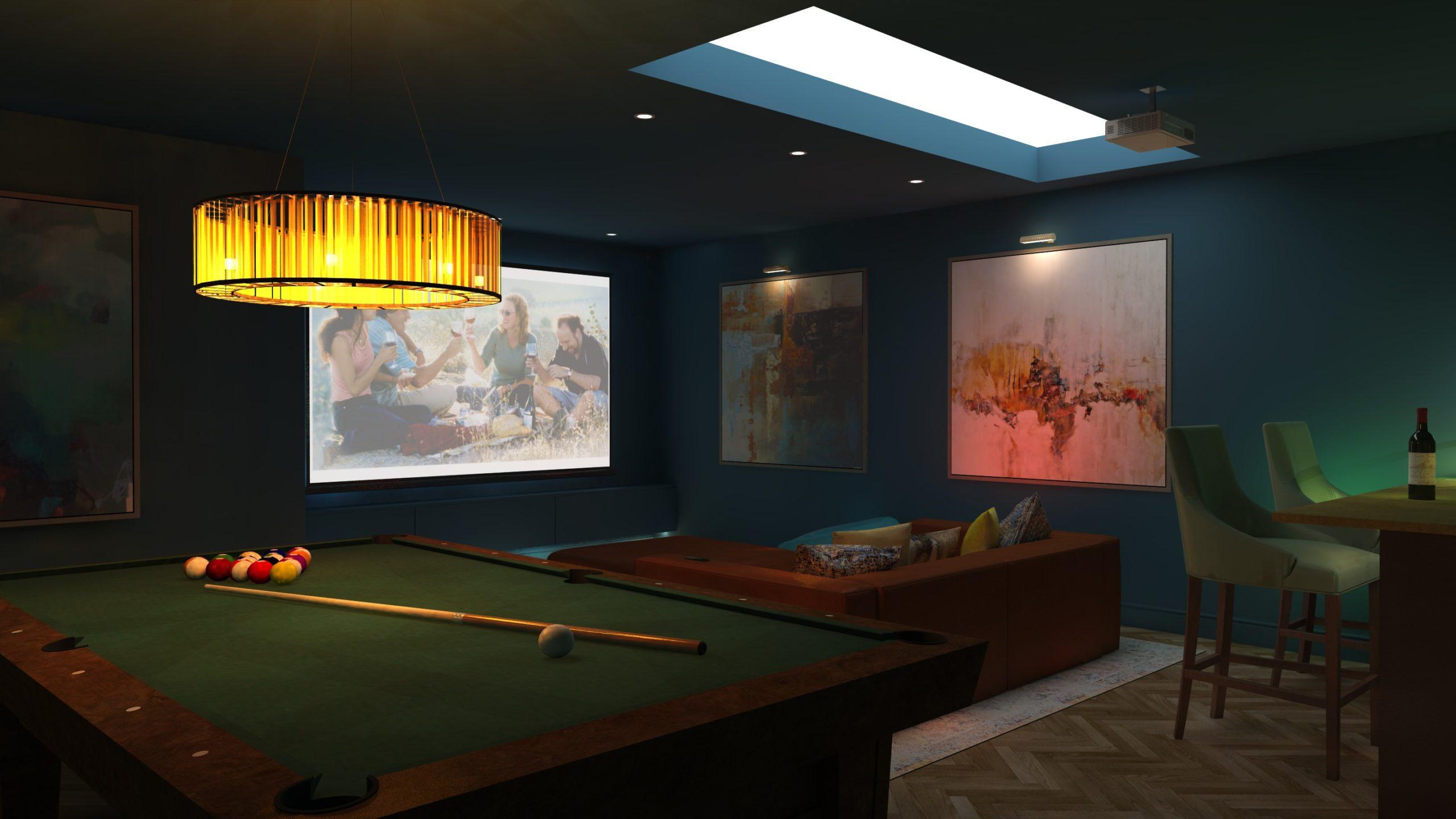 Richmond blue basement design
