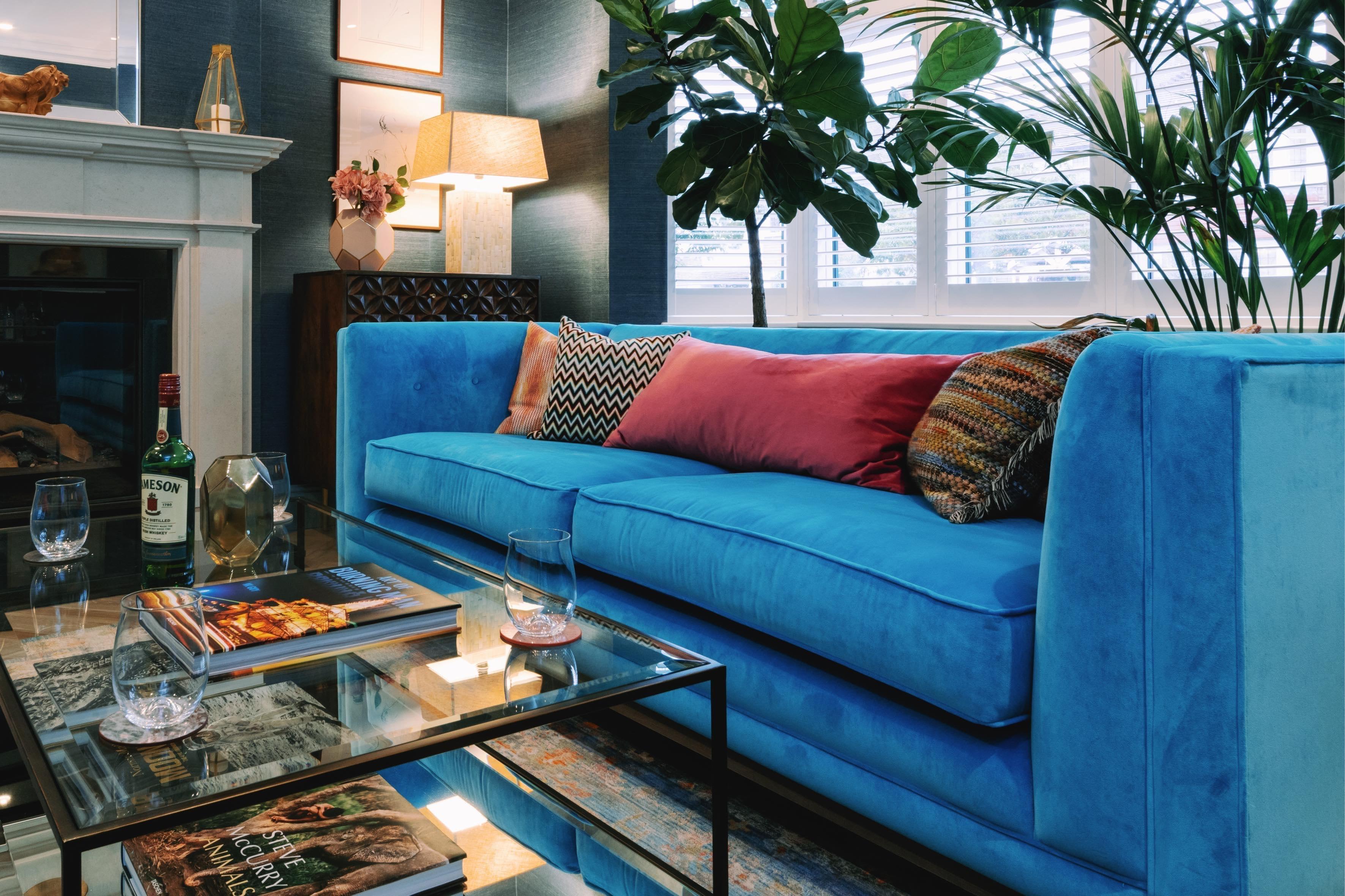Blue sofa by Bath interior designer