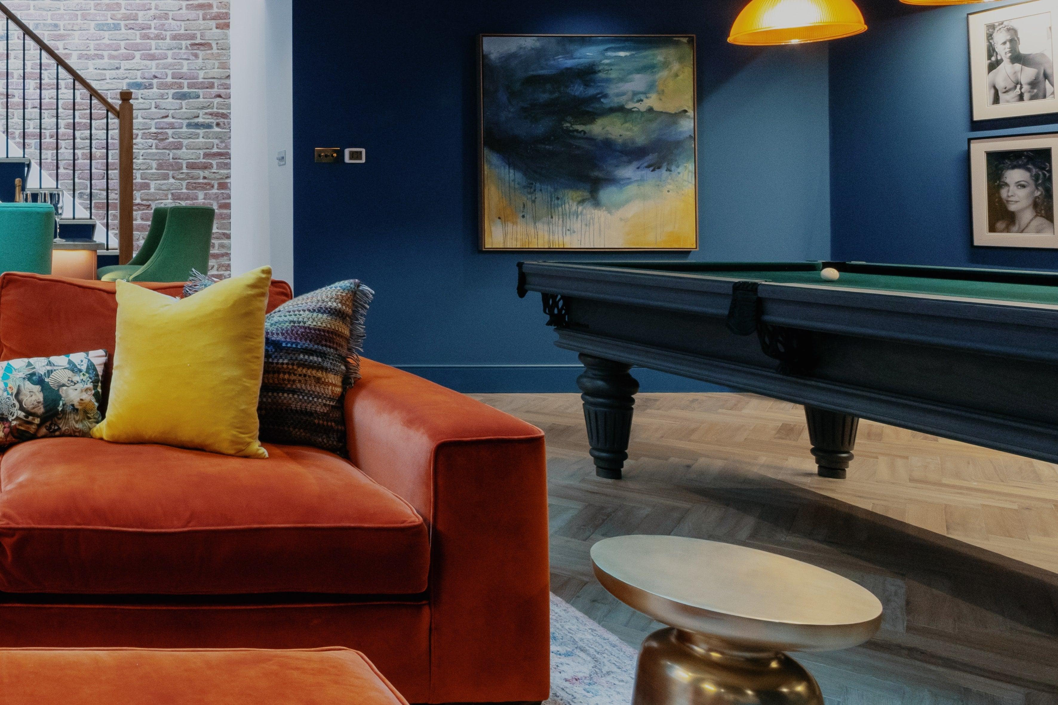 Blue basement by Bath interior designer
