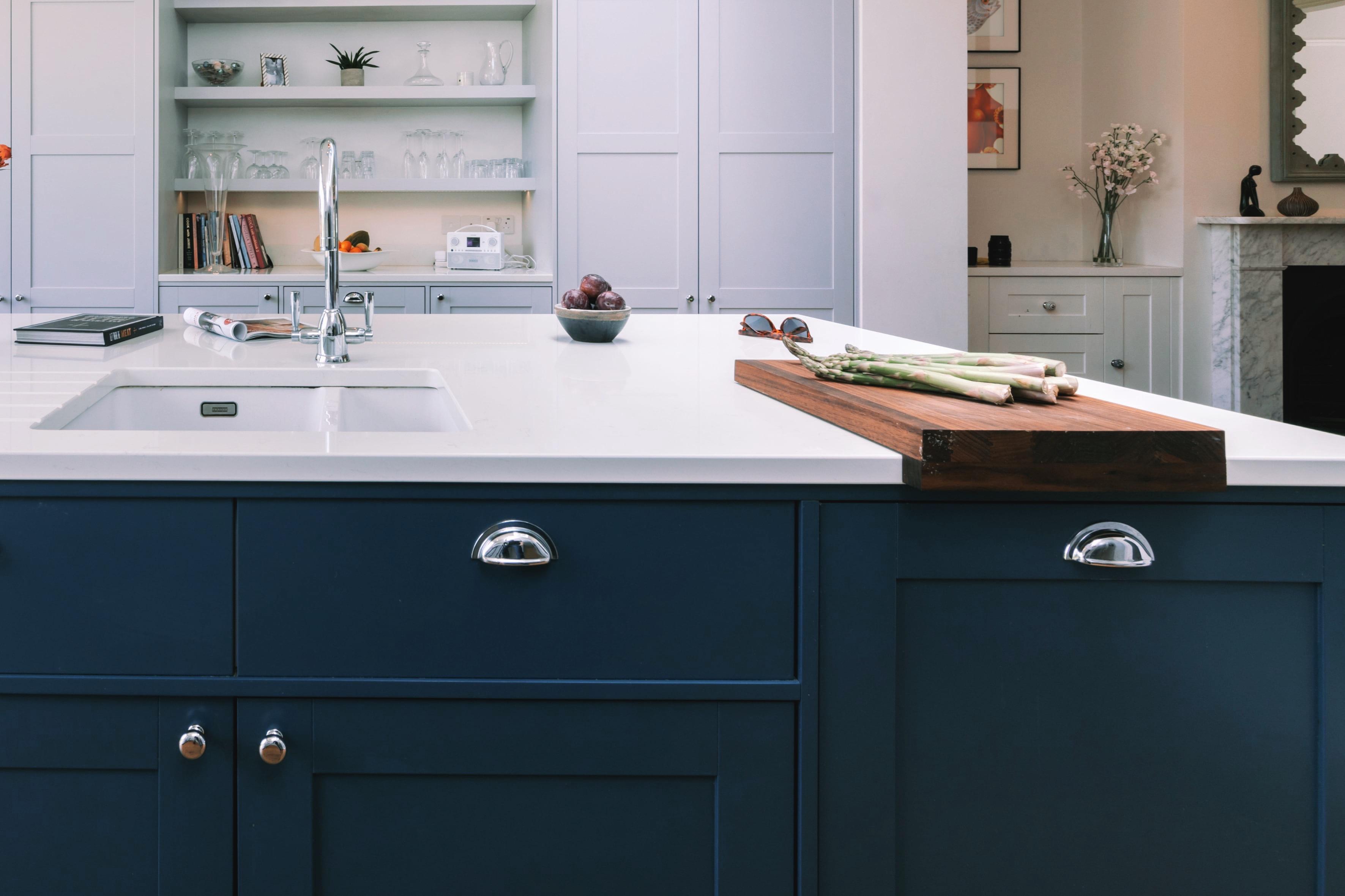 Interior designer Chiswick blue kitchen island